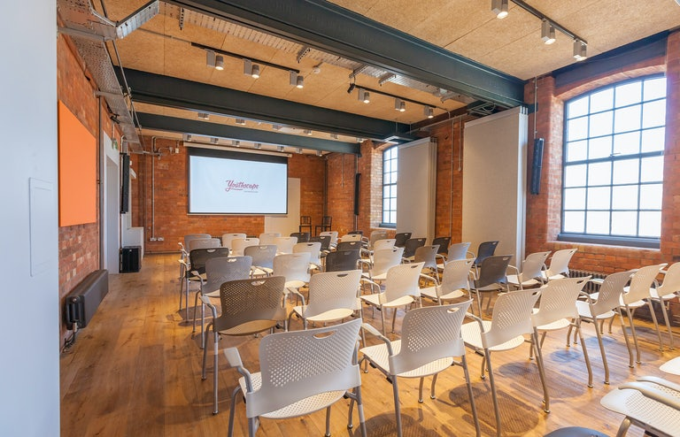 The conference room has space for 100 reception style or 80 theatre style